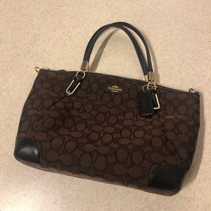 authentic brown and black coach purse